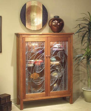 Craftsman Library w/ Custom Glass in Mahogany - Free Standing Hand-Finished Cabinetry Furniture crafted near Sperryville, VA
