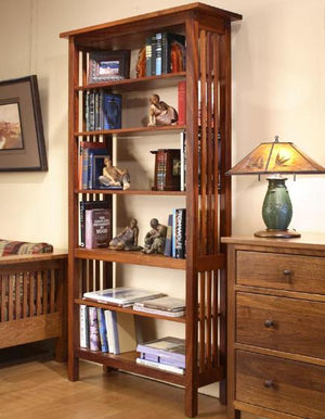 Crofters Bookcase in Mahogany displays sustainable furniture for any living room, custom made to fit your space in VA, MD, DC