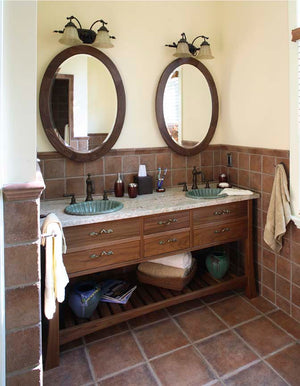 Oval Mirror and Custom Bathroom Vanity in Walnut hung Vertically