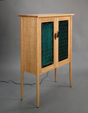 Custom Library in Curly Maple with Art Glass