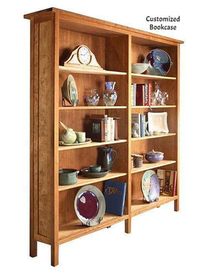 Custom Craftsman Bookcase in Natural Cherry displays two handcrafted bookcase sections that gang together for a library style