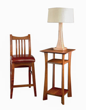 Waterfall Lamp Stand in Cherry with Artisan Bar Stool in Mahogany furniture available in Virginia, Maryland & Washington DC