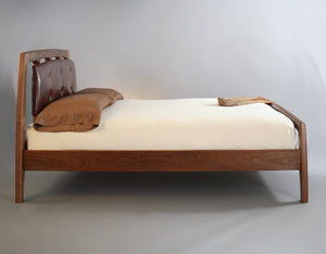 Linnaea Bed with Leather Headboard in Mahogany