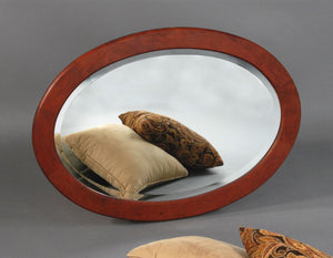 Oval Mirror in Cherry with Mahogany Wash hung Horizontally