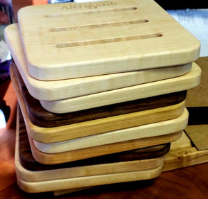 Trivet kitchen accessory and home decor in assorted hard woods to protect tables and support sustainability crafted in Virginia