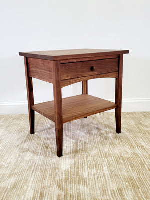 Modern Shaker 1-Drawer Nightstand with shelf made from solid walnut in Charlottesville, Virginia