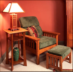 Morris Chair and Ottoman with Lamp Stand in 1/4-Sawn White Oak with English Oak Finish