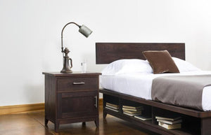 InTransit Nightstand Bedside Table with entire bedroom suite designed for small spaces, Made in the USA by Hardwood Artisans