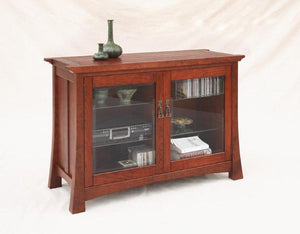 Glasgow Cabinet in Cherry w/ Appalachian finish & beveled glass, a Credenza for an office, dining, conference or living room