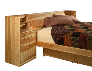 Platform Pedestal Bed with Slope & Nightstand Bedroom furniture available in assorted hardwoods made-to-last in Virginia USA