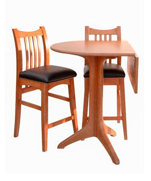 Drop Leaf Cafe Table with Artisan Stools in Natural Cherry