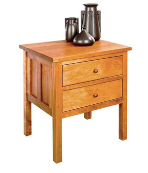 Craftsman 2-drawer Bed Table in Natural Cherry, bedroom furniture nightstand by Hardwood Artisans available near McLean, VA