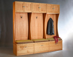 Mudroom Cabinets shown in Natural Cherry, Custom Cubicle Designs - Child Kid Spaces by Hardwood Artisans near Fredericksburg
