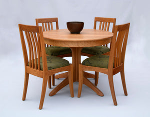 Walden Small Round Table shown with Middleburg Chairs in Natural Cherry custom hardwood dining furniture Made in America