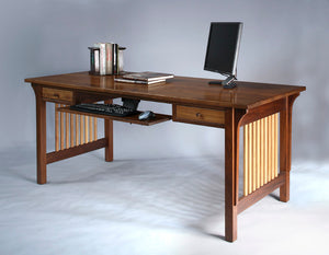 Mission Table Desk in Walnut w/ Maple slats features custom side detailed office furniture by Hardwood Artisans, Culpeper, VA