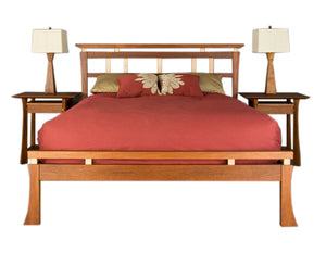 Waterfall Bed in Mahogany with Waterfall Nightstands bedroom furniture made by Hardwood Artisans for Fairfax Station Virginia