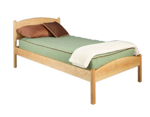 Twin Rhianna Bed in Maple illustrating custom hardwood bedroom furniture Made in the USA by Hardwood Artisans for Oakton, VA