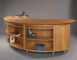Custom Retro Corner Desk in Natural Cherry