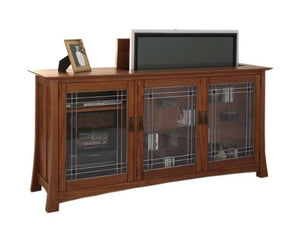 Glasgow TV Lift shown with open flat screen TV lift system of hidden TV, available in an assortment of handcrafted hardwoods