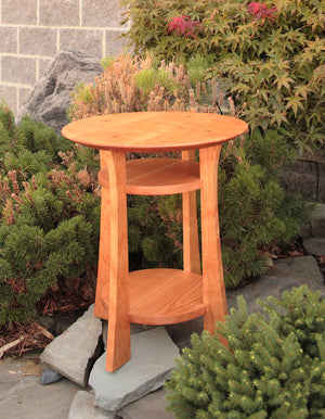 Round Waterfall End Table in New Natural Cherry