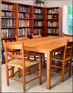 Large Shaker Table in Natural Cherry shown in a Library setting, a strong and natural wooden furniture near Purcellville VA