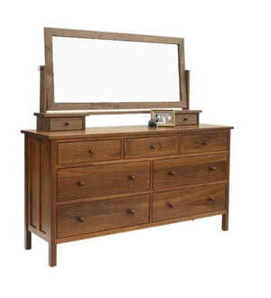 Craftsman Grand Mesa in Walnut with mirror reveals classic solid wood bedroom furniture, custom made near Loudoun County VA