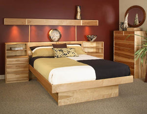 Platform Pedestal Bed with Contemporary Chest and Lightbridge in Birch