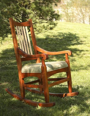 Highland Rocker in Natural Cherry w/ Curly Maple Slats indoor/outdoor furniture custom Made in the USA near Henrico County VA