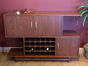 Mid Century Wine Cabinet a custom furniture piece available for order online & delivery in Virginia, Maryland & Washington DC