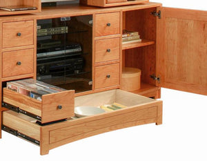 Artisan Entertainment Library center in Cherry displays cabinets & drawers in a handmade hardwood generational furniture item