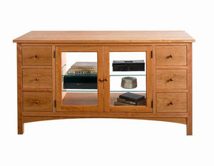 Craftsman TV Console in Natural Cherry Classic Living Room furniture Hand Made in the USA by Hardwood Artisans near Aldie, VA