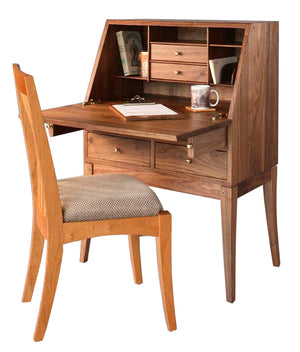 Simply Beautiful Secretary in Walnut shown with Middleburg Chair in Natural Cherry handmade furniture by Hardwood Artisans