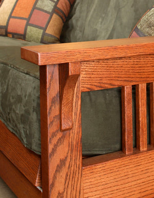 Woodley Chair & Loveseat Furniture Collection shown with pegged mortise and tenon joints handcrafted at Hardwood Artisans
