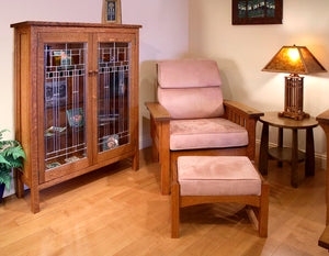 Morris Chair and Ottoman with Craftsman Library and Bungalow End Table in 1/4-Sawn White Oak with English Oak Finish