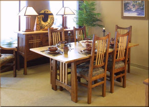 Highland Table and Highland Chairs with Highland Huntboard in Wanut with a Cherry Top and Slats