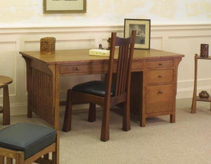 Small Craftsman Desk in Red Oak with English Oak stain