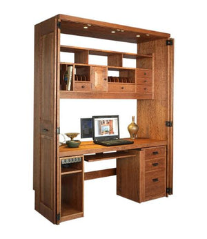 Computer Workstation in Cherry with Mahogany Wash for your office or den, custom made furniture in the Washington DC area