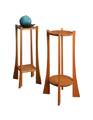 Square and Round Plant Stands in Cherry