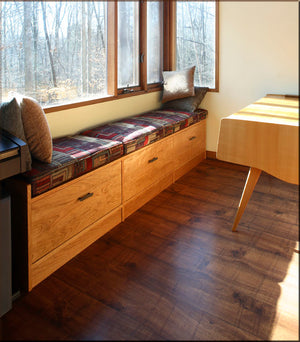 Office Built-Ins by Hardwood Artisans features built-in file cabinets and seating for custom spaces near Great Falls, VA