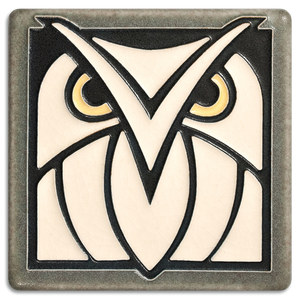 Motawi Art Tile Grey and White Owl made in USA at Hardwood Artisans in Arlington, Virginia