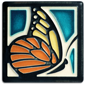 Motawi Art Tile Turquoise Butterfly made in USA at Hardwood Artisans in Culpeper, Virginia