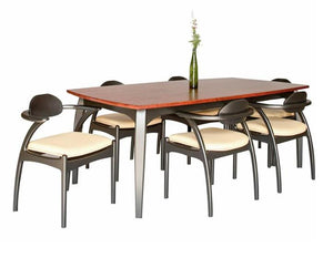 Linnaea Table shown w/ Linnaea Chairs features black lacquer & stained cherry top by master craftsmen at Hardwood Artisans