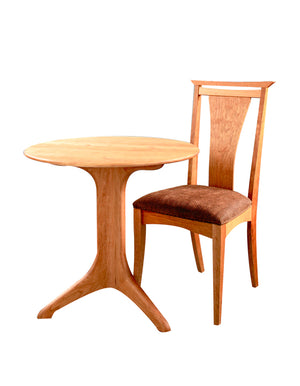 Custom Dining Round Bistro Table and Waterfull Chair in Natural Cherry