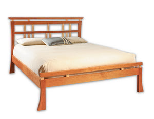 Waterfall Bed in Natural Cherry with Curly Maple Slats