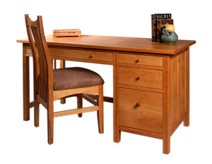 Custom Home Office Craftsman Desk with Artisan Chair in Natural Cherry