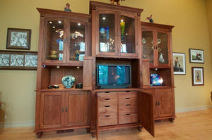 Display Case shown in Mahogany, unique gift idea Custom Cabinet Design for collectibles Made in Virginia by Hardwood Artisans