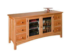 Craftsman TV Console w/ 6 drawers, 2 glass doors, and stylish legs Handmade in an assortment of hardwoods near Ashburn, VA