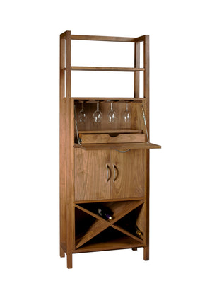 Modern Wine Tower w/ custom handles, wooden glass racks, fold down shelf, felt-lined utensil drawer, & wine storage cabinet