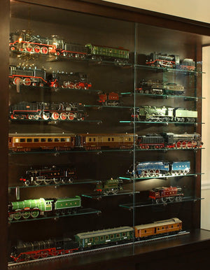 Display Case shown in Birch w/ Espresso Stain, Custom Cabinet Designs to display trains or your collection near Montgomery MD