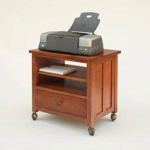 Printer Cart Stand sustainable office furniture in various hardwoods and finishes custom made for you at Hardwood Artisans